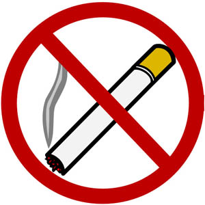 In order to take care of your liver, avoid contact with toxins such as tobacco. Picture of non-smoking sign.