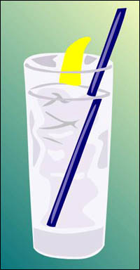 Drinking plenty of water is recommended as an essential part of a liver cleansing diet: Glass of water with straw and ice cubes